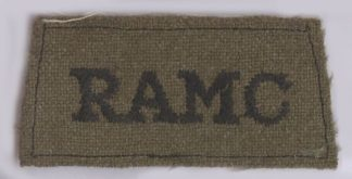 R.A.M.C. embroidered black on khaki