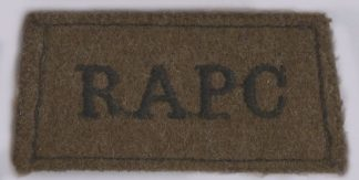 R.A.P.C. embroidered black on khaki