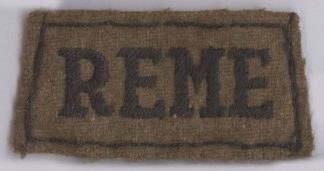 R.E.M.E. embroidered black on khaki