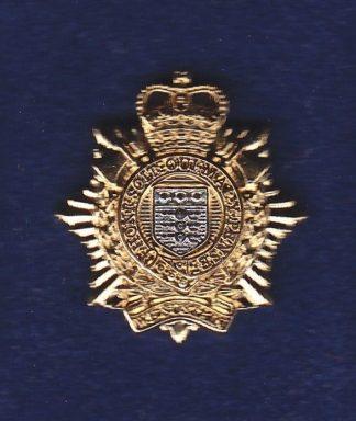RLC lapel badge CAP BADGE gilt QC