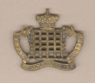 ROYAL GLOUCESTER HUSSARS slouch hat badge g/m