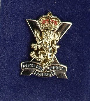 ROYAL REGIMENT OF SCOTLAND lapel CAP BADGE gilt