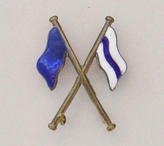 SIGNALER - crossed flags BLUE, BLUE & WHITE ENAMEL