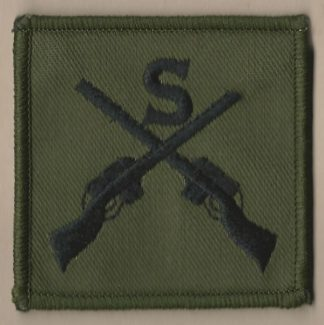 SNIPER' 'S' above crossed rifles, embroidered pat