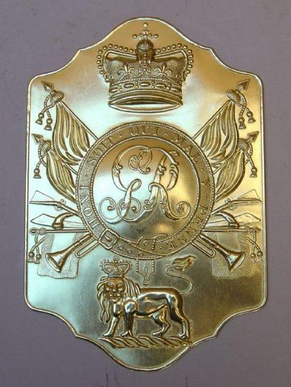 STOVE PIPE SHAKO PLATE - Brass - 1800-1812 British Napoleonic War General Service Pattern 'Stove Pipe'