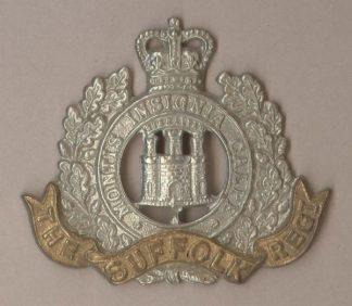 SUFFOLK REGIMENT QC bi/metal cap badge, re-strike