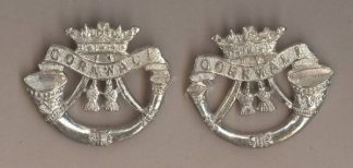 THE DUKE OF CORNWALL'S LIGHT INFANTRY' silver plate collar dogs, pair