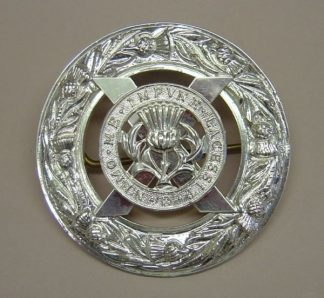 LOWLAND BAND PLAID BROACH silver plate