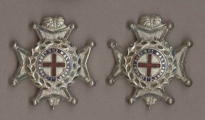 THE SUSSEX REGIMENT' silver plate & enamel pair