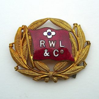 'R W L & Co' STEAMSHIP COMPANY? Officer's enamel and Gilt cap badge