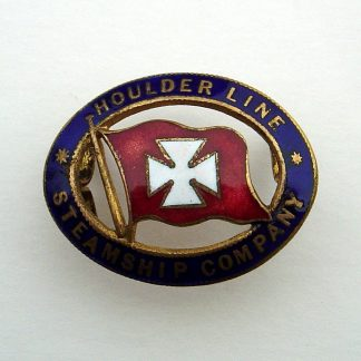 HOULDER LINE STEAMSHIP COMPANY 'enamelled Flag, centre from an Officer'e embroidered wreath Cap Badge.