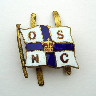 ORIENT STEAM SHIP NAVIGATION COMPANY 'enamelled Flag, centre from an Officer'e embroidered wreath Cap Badg.