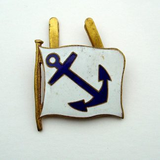 Unidentified STEAM SHIPPING LINE? Company. Blue Anchor on white  background, enamelled Company Flag, centre from an Officer'e embroidered wreath Cap Badge