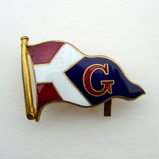 Unidentified STEAM SHIPPING LINE? Company. Enamel pennant, Red enamel divided by background, with Large red 'G' on blue, Centre from an Officer's embroidered wreath Cap Badge