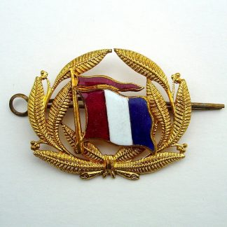 Unidentified 'NETHERLANDS SHIPPING LINE' ?  Officer's enamel and Gilt cap badge. Enamel Red, White and Blue flag, mounted on gilt wreath cap badge.