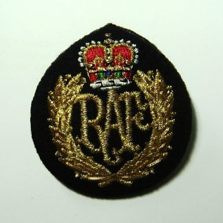 ROYAL AIR FORCE Queens's Crown No.1 Dress Mylar embroidered OR's cap badge