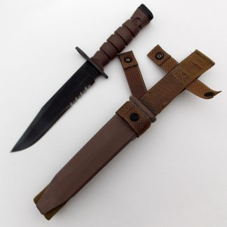 UNITED STATES U.S.M.C. M9 BAYONET by Lan-Cay. complete in brown plastic Scabbard with oil stone and round striker-file.