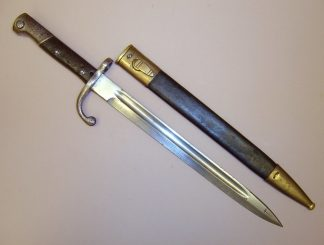 BRAZIL Mod 1908/30 Mauser bayonet, brass mounted leather scabbard