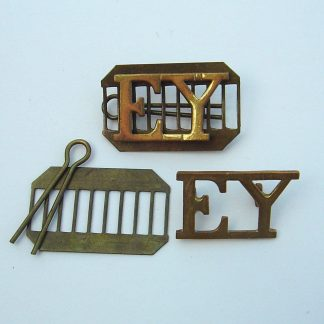 ESSEX YEOMANRY brass shoulder titles, pair, complete on backing plates.
