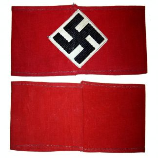GERMAN THIRD REICH HITLER YOUTH ARM BAND, scarlet cotton