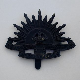 AUSTRALIA 'Rising Sun' cap badge with hook fixing. 'Bronzed'