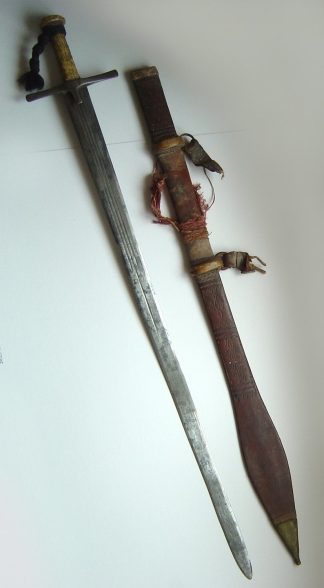 SUDAN - Mahdist period Kaskara complete in leather scabbard.