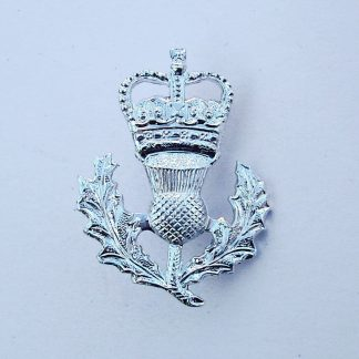 The HIGHLANDERS Sporran Badge crowned thistle anodised aluminium.