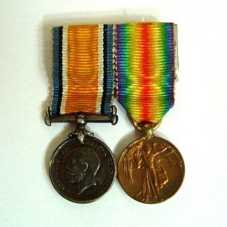 BRITISH WAR MEDAL and VICTORY MEDAL 1914-1918 Miniature Medals pair (2) original