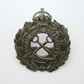 INDIA - Bombay Jail Department KC white metal cap badge