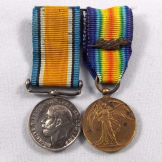 British War medal and Victory Medal with 'Mentioned in Dispatches' emblem miniature medals