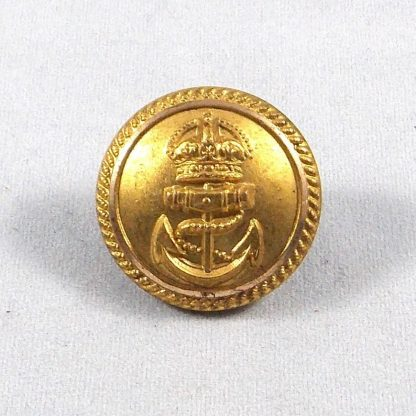 ROYAL NAVY KC 25mm Gilt Officer's Button - roped edge plain background.