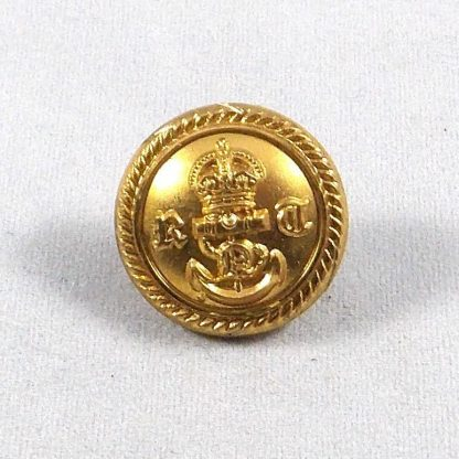ROYAL NAVY VOLUNTEER RESERVE KC 25mm Gilt Officer's Button - roped edge plain background.