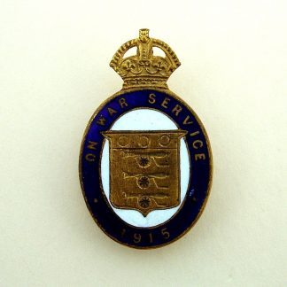 ON WAR SERVICE 1915 -  Munition Workers lapel badge Blue and White enamel on gilding metal