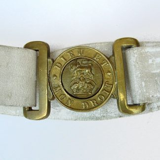 GENERAL SERVICE KC BRASS BELT BUCKLE on WHITE BUFF LEATHER WAIST BELT