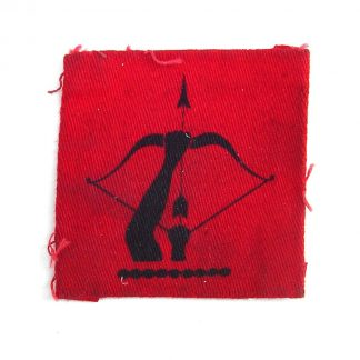 Anti-Aircraft Command  - Black Bow and Arrow aimed upwards on a scarlet square - original