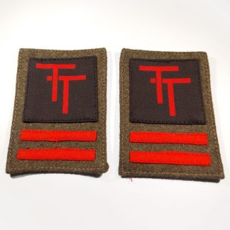 50th (NORTHUMBRIAN) DIVISIONPS cloth formation badge, printed RED on a BLACK Square reproduction sen on Khaki backing