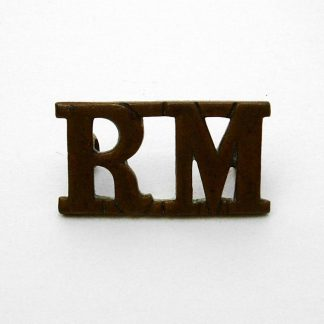 ROYAL MARINES OR'S G/M Shoulder titles 'RM', original (pair) Large pattern