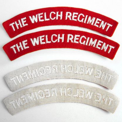 THE WELCH REGIMENT curved shoulder title embroidered  White on Red