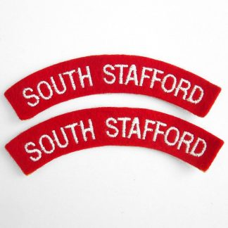 SOUTH STAFFORD curved shoulder title embroidered  White on Red