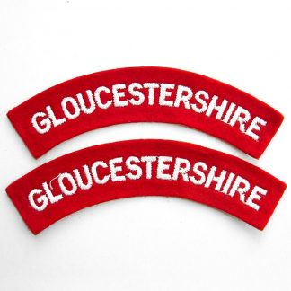 GLOUCESTERSHIRE curved shoulder title embroidered  White on Red