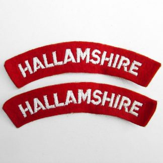 HALLAMSHIRE curved shoulder title embroidered  White on Red