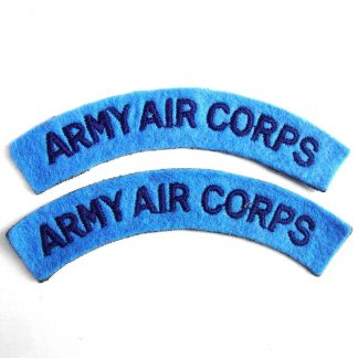 ARMY AIR CORPS curved shoulder title embroidered  DARK BLUE on LIGHT BLUE