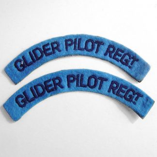GLIDER PILOT REGIMENT curved shoulder title embroidered  DARK BLUE on LIGHT BLUE