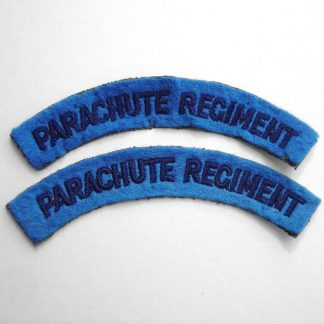 PARACHUTE REGIMENT curved shoulder title embroidered  DARK BLUE on LIGHT BLUE
