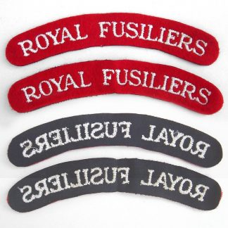 ROYAL FUSILIERS curved shoulder title embroidered  White on Red