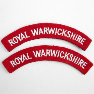 ROYAL WARWICKSHIRE curved shoulder title embroidered  White on Red