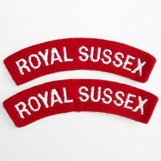ROYAL SUSSEX curved shoulder title embroidered  White on Red
