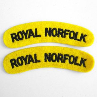 ROYAL NORFOLK curved shoulder title embroidered  GREEN on YELLOW