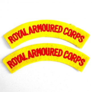 ROYAL ARMOURED CORPS curved shoulder title embroidered  RED on YELLOW