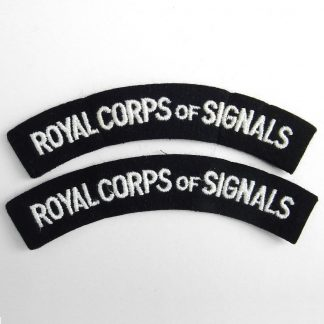 ROYAL CORPS of SIGNALS curved cloth shoulder title embroidered White on Navy Blue